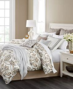 Martha Stewart Collection Victoria 14-Pc. Comforter Sets, Only at Macy's  $125.99 Fill your room with fresh contemporary style with the painterly damask-inspired pattern and cool, calming tones of these Victoria comforter sets from Martha Stewart Collection. Including coordinating shams, sheets, decorative pillows and a cozy throw, these ensembles have all the pieces needed for a picture-perfect look and feel.