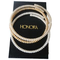 Vintage Honora Pearl Wire Choker Necklaces Set of Three Fresh Water Button Pearls by EraAntiquesandFinds on Etsy