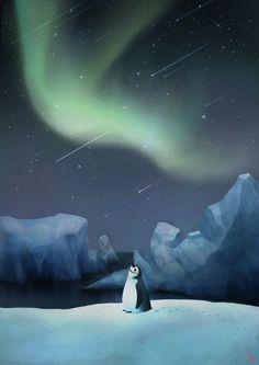 Penguin illust on Behance Penguin Cartoon, Penguin Art, Pinguin Drawing, Northern Lights Tattoo, Cute Lockscreens, Cartoon Background, Cute Penguins, Star Sky, Love Wallpaper