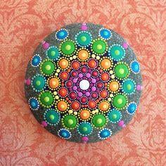Mandala painting tutorial dot on canvas stone hand painted art rock spiritual gift handmade how to . Aboriginal Dot Painting, Dot Art Painting, Pebble Painting, Pebble Art, Stone Painting, Rock Painting, Diy Painting, Mandala Painted Rocks, Mandala Rocks