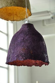 "The production of these lampshades, following processes similar to those carried out for the manufacture of craft paper or of vegetable dishes and glasses . Vegetables dried, reduced to a pulp, are mixed and pressed, reduced to ""pods"", and finally modeled according to the form desired. chandeliers can be recycled, hanging outside the house as food for birds. (scheduled via…"