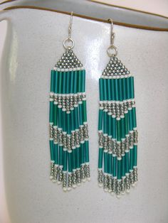 Beaded Fringe Earrings Native American Style in Teal, Cream and Silver - pinned by pin4etsy.com