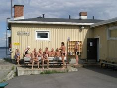 public sauna in Tampere, rauhaniemen. Swedish Sauna, Baths Interior, Ancient Greek, Finland, Shed, Public, Backyard, Outdoor Structures, Adventure
