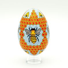Bee and Honeycomb Goose Pysanky -- Hand dyed Ukrainian Easter Egg Purple Quilts, Ukrainian Easter Eggs, Egg Designs, Honeycomb, Yellow Flowers, Beautiful Hands, Etsy Store, Christmas Bulbs, Wax