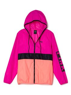 Anorak Full-Zip PINK  LJ-334-427 (7AF) 59.95 A lightweight, easy jacket—perfect to layer or wear alone. Only by Victoria's Secret PINK.  Slim fit Printed graphics Imported nylon