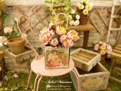 Miniature bouquet of five pink peonies and two by AtelierMiniature