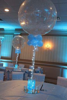 Aqua Gems & Sparkle Balloon Centerpiece Vases with Aqua Gems, LED Lights & Sparkle Balloon Centerpiece
