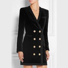 2015 outono / inverno Vogue marca Luxury Collection famoso Designer mulher fivela metálica V profundo vestido gola de veludo HG44