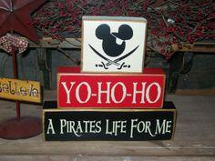 Yo-ho-ho  A pirate sleeps here..New Pirate Mickey Mouse Primitive Wood Sign Blocks Kids Boys Girls Nursery Room Birthday Party Decor CUTE. $24.99, via Etsy.