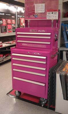 A pink tool box to keep in a pink garage with a pink car where I make pink crafty things with pink tools. Pretty In Pink, Pink Love, Perfect Pink, Pink Tool Box, Crafty Angels, Rangement Makeup, Hot Pink, My Favorite Color, My Favorite Things