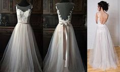 Boho Vintage Inspired Wedding Dress with Lace Corset, Open V cut Lace Transparent Back, Illusion Neckline, Chiffon Skirt All my wedding dresses are made to measure, done by myself with much care and love. They have been tested for a perfect fit, their fabric is soft and feels amazing on