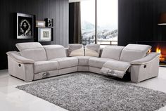 """3 pc Moderna II collection modern style grey / beige color fabric upholstered sectional sofa with recliner ends.  This set includes the two one arm love seats with built in recliners and adjustable headrests, corner unit includes a built in soud system with blue tooth, USB plug , CD card slot and Aux. cable jack.  Sectional measures 114"""" x 114"""" x 40"""" H.  Some assembly required."""