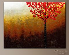 Red tree abstract, on canvas