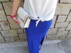 mango çanta mavi uzun etek beyaz gömlek en moda kombin yazlık kombin moda blogları en moda pembe ruj bu kombin gleam fashion Ne Giydim / Maxi Yırtmaçlı Etek