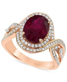 Rosa by EFFY Ruby (2-7/8 ct. t.w.) and Diamond (1/2 ct. t.w.) Oval Ring in 14k Rose Gold