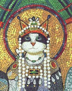 "Mosaic Panel ""my queen"" kitty cat..."