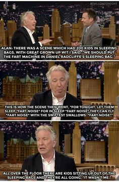 Alan Rickman on the Harry Potter set. Hahaha #JimmyFalon RIP Alan Rickman. We will miss you dearly