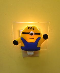 A fused glass Minion that we turned into a night light!