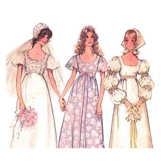 Vintage Wedding Dress Pattern Simplicity 9825 Empire Bridemaid Dress Scoop Neckline Puff sleeve Scarf | 1970s Womens Sewing Pattern Bust 38 by finickypatternshop on Etsy https://www.etsy.com/listing/120846442/vintage-wedding-dress-pattern-simplicity