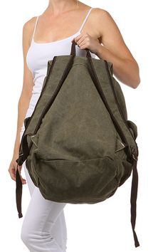 4cc6974701 Army Green Canvas Travel Rucksack Backpack