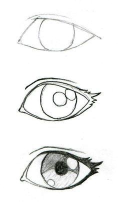 Art Drawings Sketches Simple, Pencil Art Drawings, Cartoon Drawings, Cool Drawings, Drawings Of Eyes, Easy Manga Drawings, Easy Eye Drawing, Pencil Sketching, Naruto Drawings