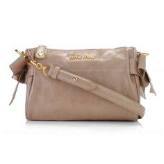 Apricot Bow Embellished Glossed Leather Shoulder Bags