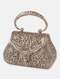 Trendy Women's Purses : Floral Jaal Purse - Vintage Purses, Vintage Bags, Vintage Handbags, Vintage Clutch, Vintage Shoes, Silver Purses, Silver Bags, Beaded Purses, Beaded Bags