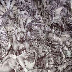 Chicano Art Tattoos, Gangsta Tattoos, Behind Ear Tattoos, Mexican Tattoo, Prison Art, Lowrider Art, 4 Tattoo, Wow Art, Graffiti Art