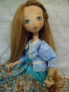 Купить Майя - голубой, ручная работа, кукла, авторская кукла, кукла в подарок, кукла текстильная