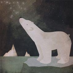 Beautiful Polar bear from Etsy seller Nativevermont school, polar bears, kid art, glass, star, vermont, earth day, graphic art, print