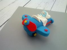 3D Airplane- Sleeping Baby Boy Pilot Cake Topper - Your Cupcake Story