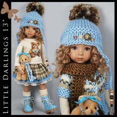 """Blue & Brown Bear Outfit for Little Darlings Effner 13"""" by Maggie & Kate Create"""