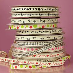 """New Prints on Cotton Ribbon Arrived on Paper Mart. Love the """"Love"""" Ribbon and """"Coffee"""" One."""
