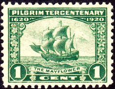 USA One Cent Postage Stamp - Pilgrim Tercentenary - The Mayflower - Green Old Stamps, Rare Stamps, Vintage Stamps, Vintage Tools, Karl Dönitz, Commemorative Stamps, Les Religions, May Flowers, Mail Art