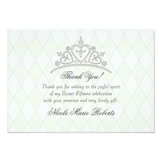 "Quinceanera Tiara on Diamonds Thank You cards 3.5"" X 5"" Invitation Card"