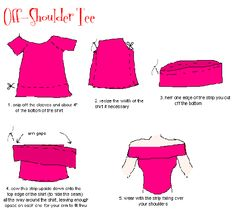 How to make an off-shoulder blouse out of an old t-shirt