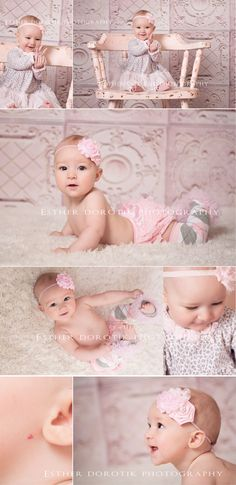 6 month old photography, baby girl, baby photography, pink antique chair, heart shape, 6 month pictures, infant pictures