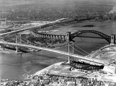 In 1936, the Triborough Bridge, which links Manhattan, Queens and the Bronx, was not yet complete. The Hells Gate Railroad Bridge looms in the distance.