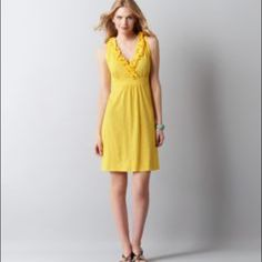 New LOFT Yellow Ruffle Dress  Size M New with tags Ann Taylor LOFT yellow dress with ruffles around the v-neck! Size M! LOFT Dresses
