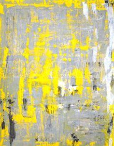 Grey and Yellow Abstract Art Print #abstractart