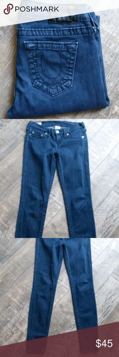 "True Religion World Tour Casey Skinny Jeans True Religion World Tour dark wash Casey,  five pocket skinny jeans. EUC  Approx. measurements: Inseam: 28"" Rise: 7"" Back:  11"" Waist laying flat: 14"" Hips: 17""  Leg opening: 5"" True Religion Jeans Skinny"