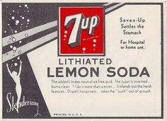 """7 Up was created by Charles Leiper Grigg, who launched his St. Louis-based company The Howdy Corporation in 1920. Grigg came up with the formula for a lemon-lime soft drink in 1929. The product, originally named """"Bib-Label Lithiated Lemon-Lime Soda"""", was launched two weeks before the Wall Street Crash of 1929. It contained lithium citrate, a mood-stabilizing drug, until 1950."""
