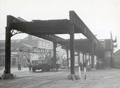 The Liverpool Overhead Railway being dismantled in 1958.