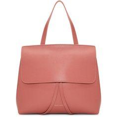Mansur Gavriel Pink Saffiano Mini Lady Bag ($750) ❤ liked on Polyvore featuring bags, handbags, shoulder bags, drawstring purse, mini handbags, red purse, structured purse and clasp handbag