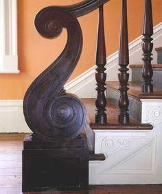 Period S-shaped Mahogany Newel Post