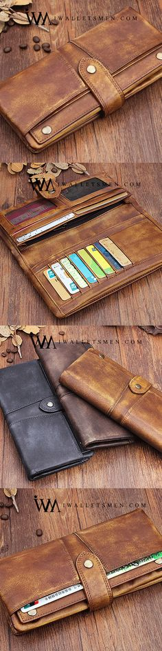 Handmade Leather Mens Cool Long Leather Wallet Wristlet Clutch Wallet for Men / tomiphotography. Mens Long Leather Wallet, Handmade Leather Wallet, Leather Men, Sewing Leather, Real Leather, Best Wallet, Long Wallet, Leather Purses, Leather Handbags