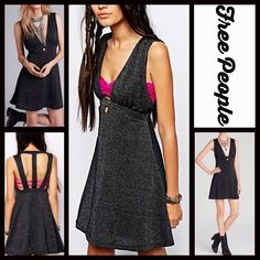 """FREE PEOPLE Black Metallic Dress  NEW WITH TAGS  RETAIL: $108 FREE PEOPLE embellished Dress Strappy Back Dance of the Night * Allover beautiful metallic sequin like thread embellishment * V-neckline & A-line silhouette * Back straps & cutout detail; A stretch-to-fit style.  * Subtly flared skirt. Cocktail * Approx 34"""" long.  Fabric: Nylon, polyester, & spandex Color: Black combo 9590 # bodycon  # sexy club No Trades ✅Offers Considered*/Bundle Discounts✅ *Please use the 'offer' button to…"""