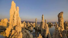 Tufa towers, Mono Lake, CA:  Saline lake covering more than 70 square miles has no fish.  The tufa towers are limestone and grow underwater.