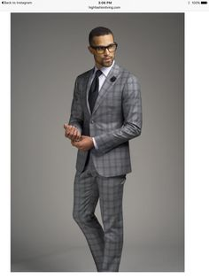 Gray windowpane men's suit