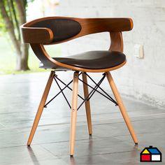 Silla madera-PU curva Home Collection #Sodimac #Homecenter